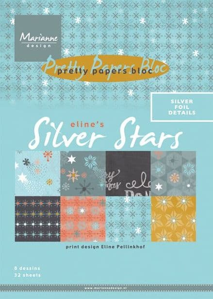 PK 7048 ~ SILVER STARS ~ A5 Pretty Papers Bloc ~ Marianne Designs