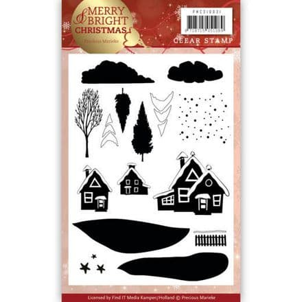 PMCS10031 L ~ Christmas House ~ Merry & Bright Christmas ~ Precious Marieke Clear Stamp