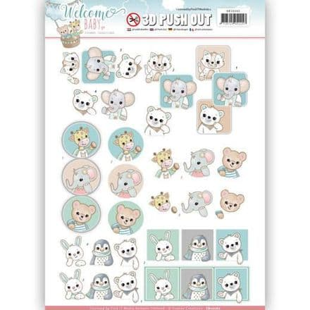 SB10262 ~ Welcome Baby  3D Push Outs~ Animal Art  ~ Yvonne Creations