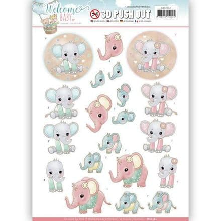SB10263 ~ Welcome Baby  3D Push Outs~ Little Elephants  ~ Yvonne Creations