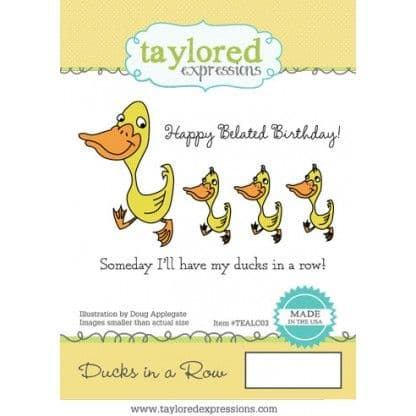 TEALC003 ~ DUCKS IN A ROW ~ set 3 stamps ~ Taylored Expressions