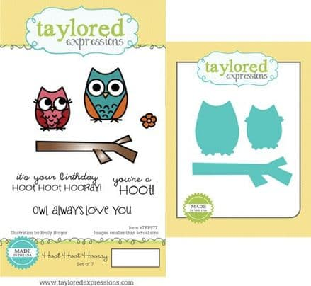 TEPS077 ~ HOOT HOOT HOORAY - SET OF 7 Stamps with coordinating dies by Taylored Expressions