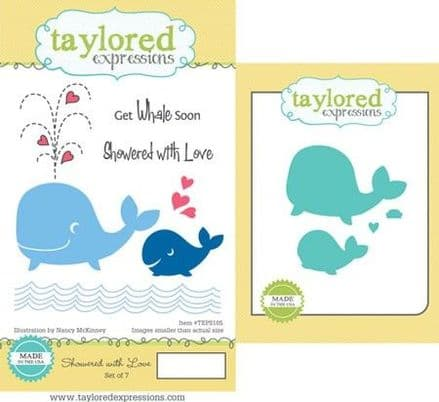 TEPS105 ~ SHOWERED WITH LOVE - SET OF Stamps with coordinating dies by Taylored Expressions