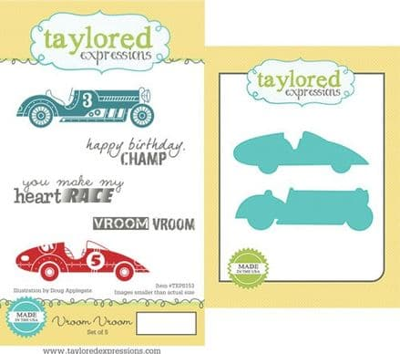 TEPS153 ~ VROOM VROOM - SET OF 5 Stamps with coordinating dies by Taylored Expressions