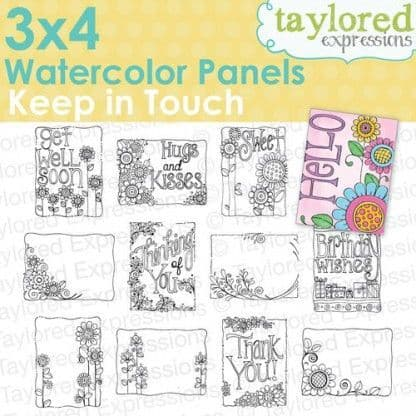 """TEWP02 ~ KEEP IN TOUCH ~ 3""""x4"""" watercolor panels"""