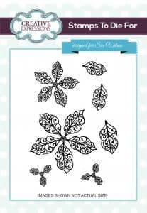 UMS726 ~ FILIGREE POINSETTIA ADDITIONS ~ Pre cut stamp ~ Festive Collection ~ Sue Wilson
