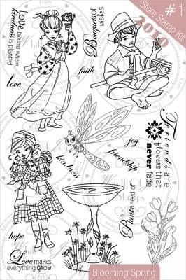 Whiff of Joy BLOOMING SPRING set 19 rubber stamps rare