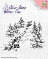 WT003 ~ Winter Time - Sledge Fun ~  Nellie Snellen Clear Stamps