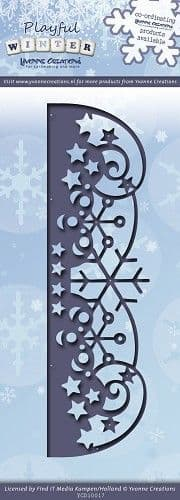 YCD10017 ~ Playful Winter Snowflakes Border ~ Yvonne Creations