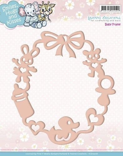 YCD10018 L ~ Smiles, Hugs and Kisses Baby Frame Die ~ Yvonne Creations