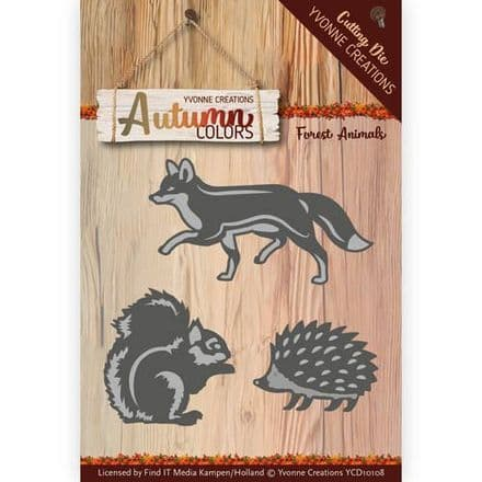 YCD10108 ~ Autumn Colour Cutting Die ~ Forest Animals ~ Yvonne Creations