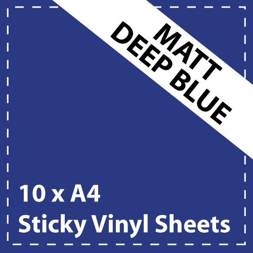 10 x A4 Matt Deep Blue Sticky Vinyl Sheets - Craft Robo, CriCut & Crafts