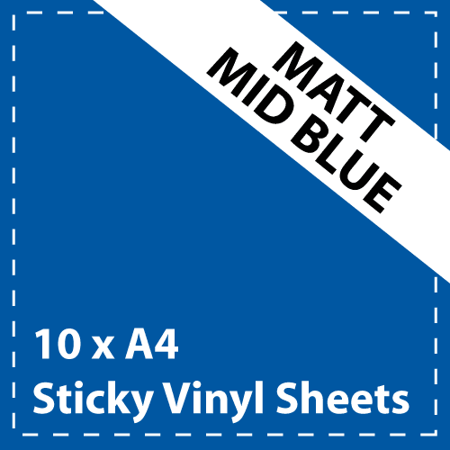 10 x A4 Matt Mid Blue Sticky Vinyl Sheets - Craft Robo, CriCut & Crafts