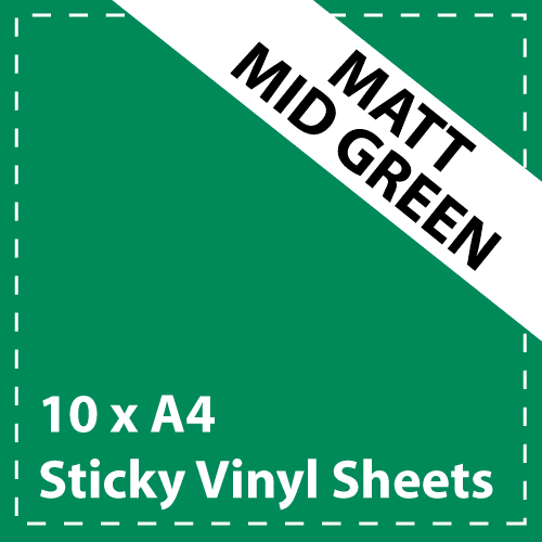 10 x A4 Matt Mid Green Sticky Vinyl Sheets - Craft Robo, CriCut & Crafts