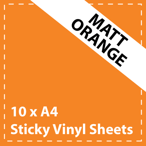 10 x A4 Matt Orange Sticky Vinyl Sheets - Craft Robo, CriCut & Crafts (1)