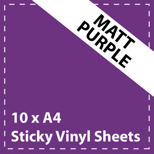 10 x A4 Matt Purple Sticky Vinyl Sheets - Craft Robo, CriCut & Crafts