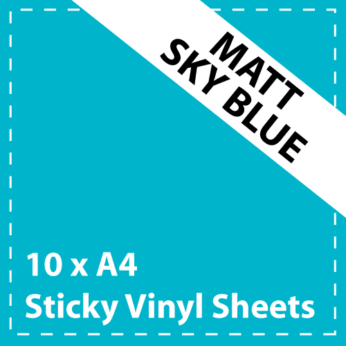 10 x A4 Matt Sky Blue Sticky Vinyl Sheets - Craft Robo, CriCut & Crafts