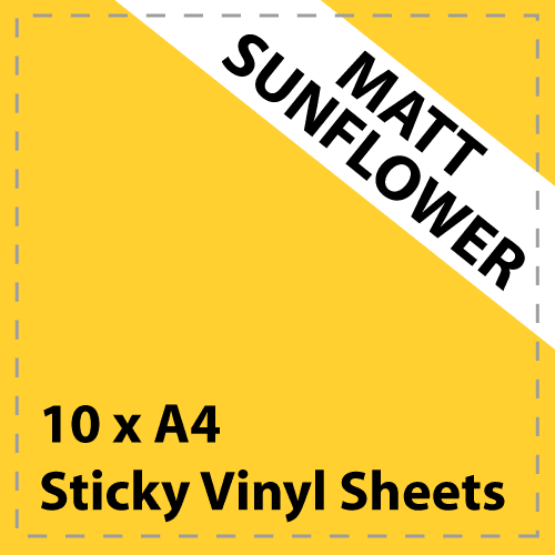 10 x A4 Matt Sunflower Yellow Sticky Vinyl Sheets - Craft Robo, CriCut & Crafts
