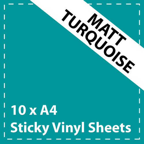 10 x A4 Matt Turquoise Sticky Vinyl Sheets - Craft Robo, CriCut & Crafts