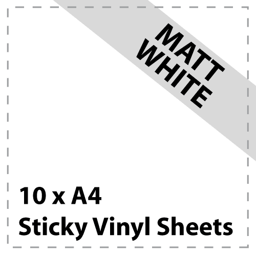 10 x A4 Matt White Sticky Vinyl Sheets - Craft Robo, CriCut & Crafts