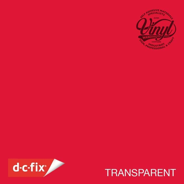 Craft Grade Transparent Red Window Sticky Vinyl Fablon (200-1964) Cut to size from 1 to 15 metres
